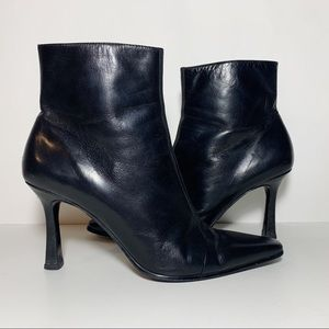 Nine West Black Leather Pointed Toe Ankle Booties